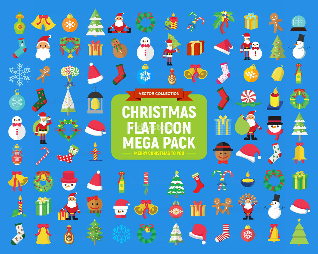 Cute Christmas Vector Graphic Flat Icon Mega Pack
