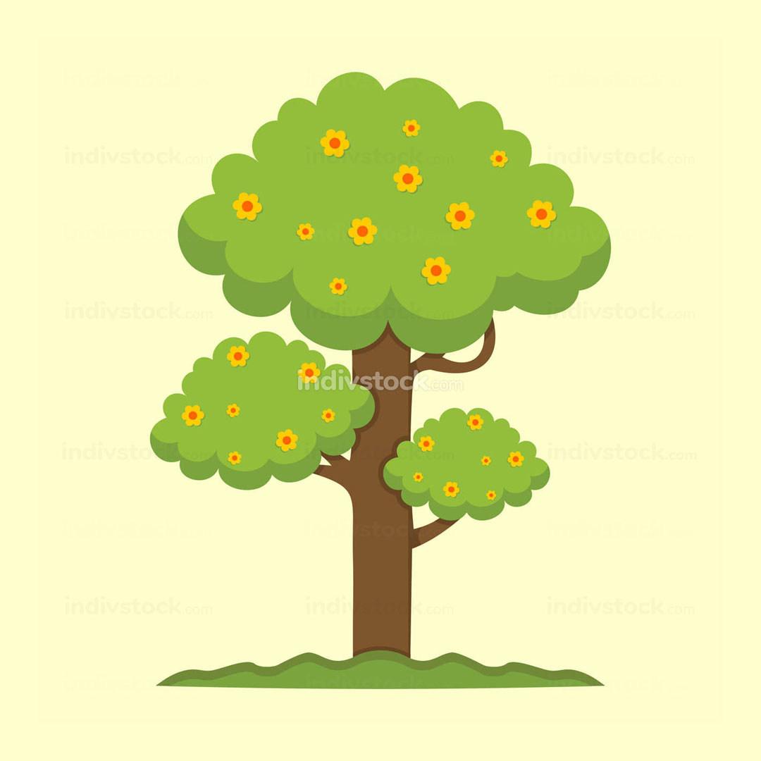 Cute Spring Season Tree Illustration Graphic