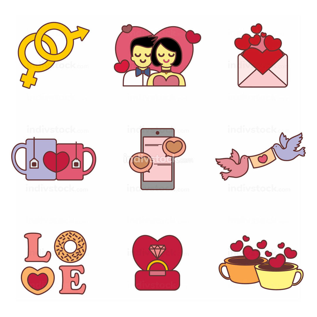 Cute Valentine Icons Vector Illustration Graphic
