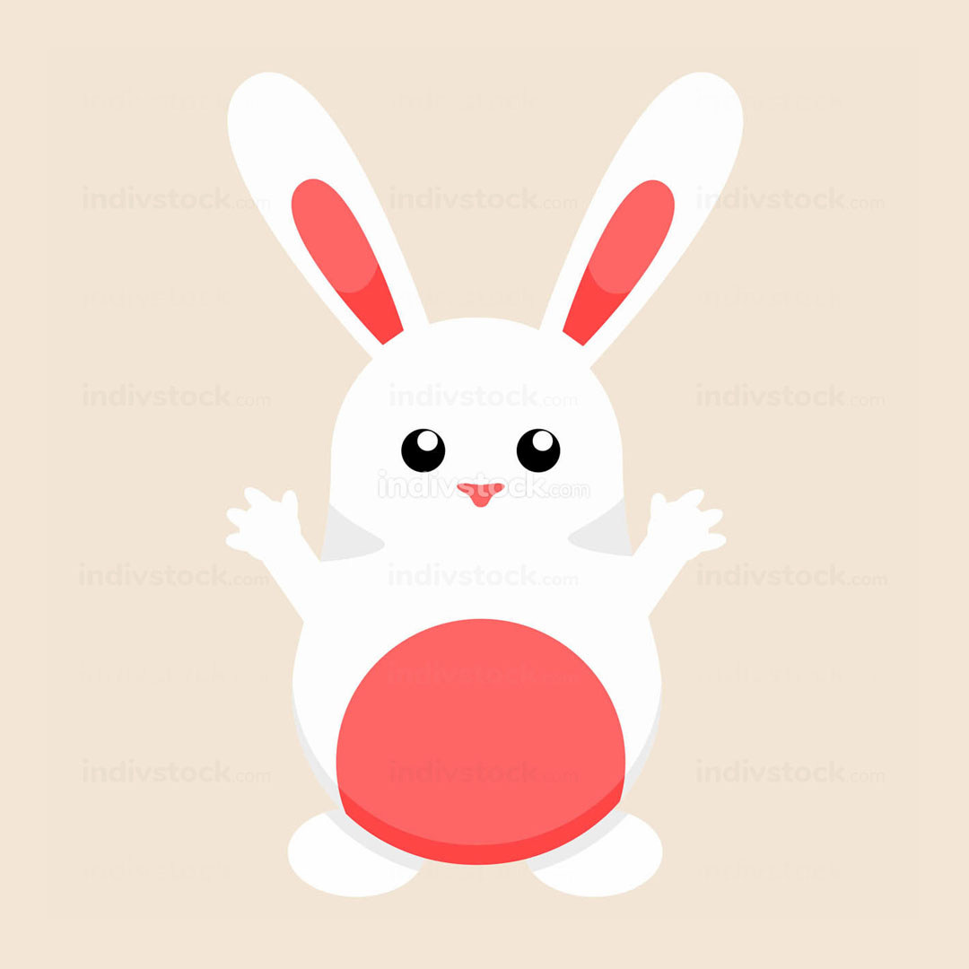 Cute White Easter Bunny Illustration Graphic
