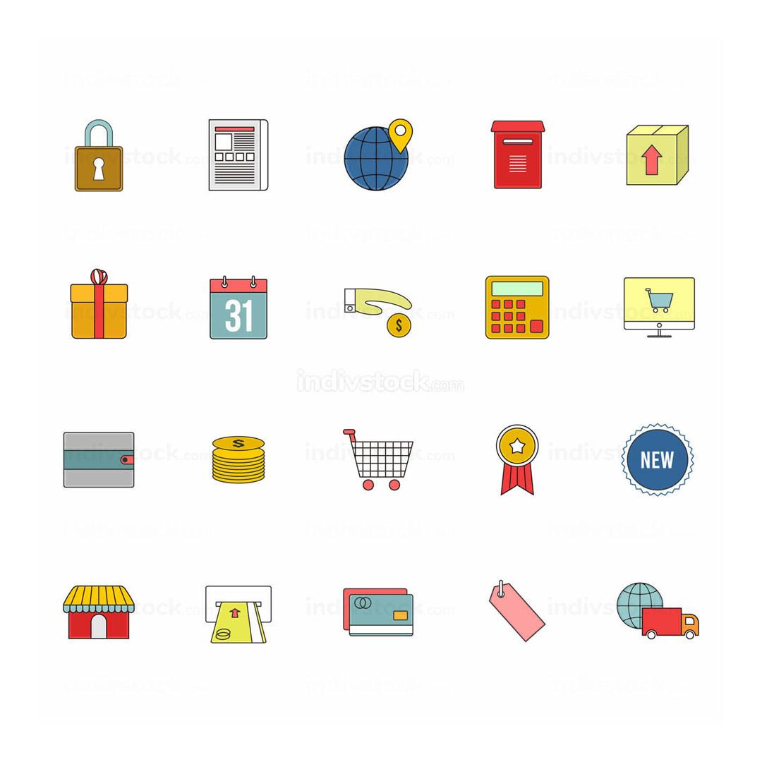 E-Commerce Web Vector Outline Icon Illustration Set