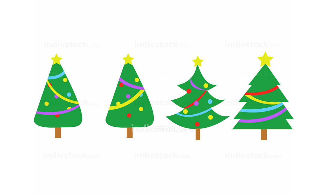 free download: Fully Decorated Simple Christmas Tree Vector Graphic Set