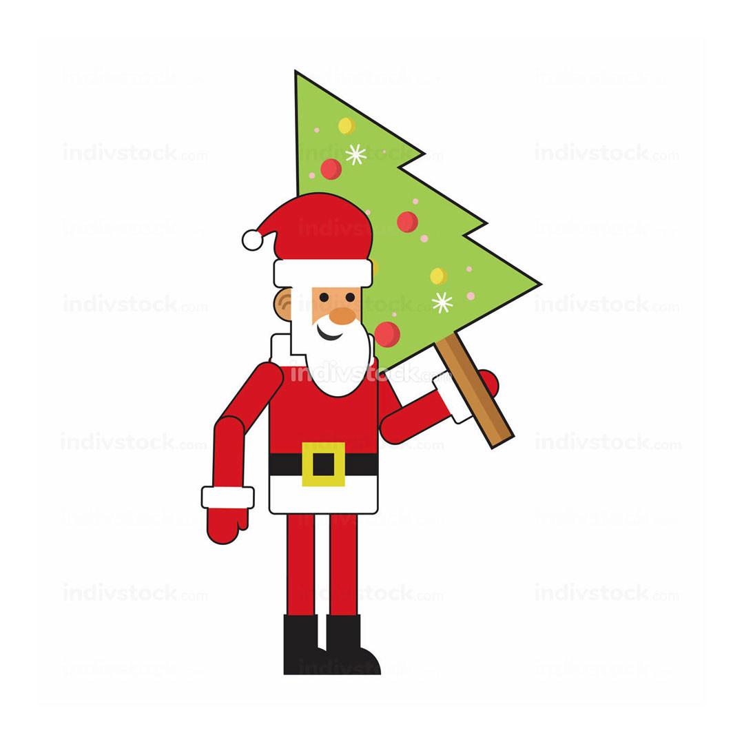 Fun Santa Claus With Christmas Tree