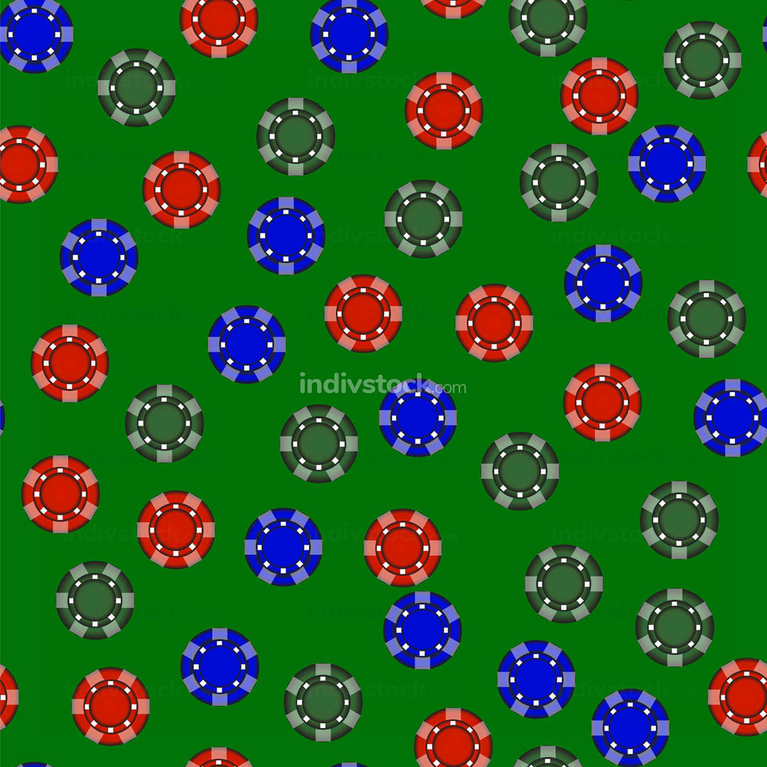 Gambling Plastic Colored Chips Seamless Pattern
