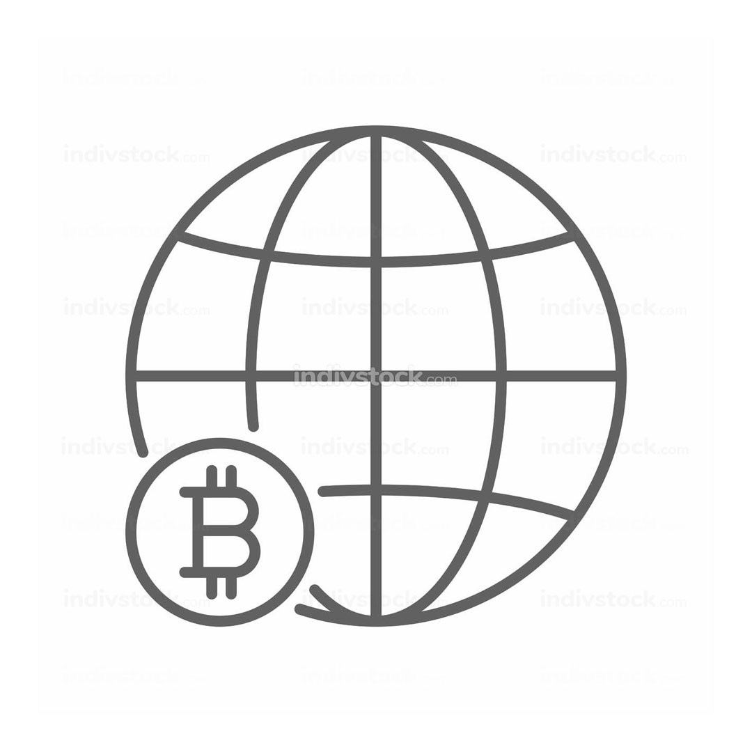 Global Bitcoin World Thin Line Symbol Icon Design
