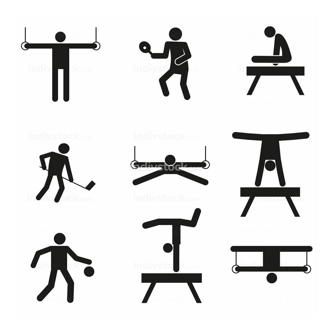 Gymnastic Sport Abstract Symbol Vector Illustration Graphic Set