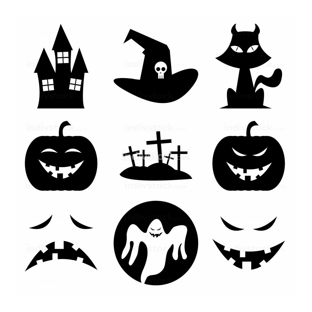 Halloween Black Fun Silhouette Icon Illustration Symbol Design Collection Set