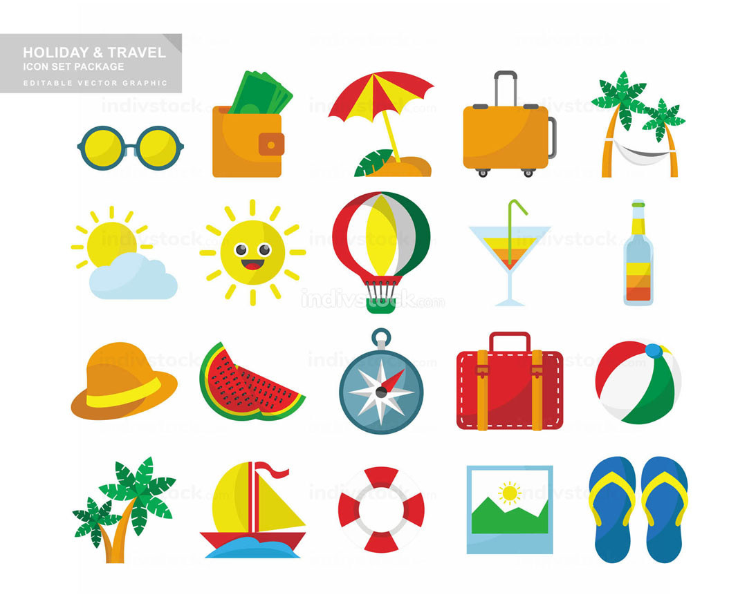 Holiday Travel Icon Set Package