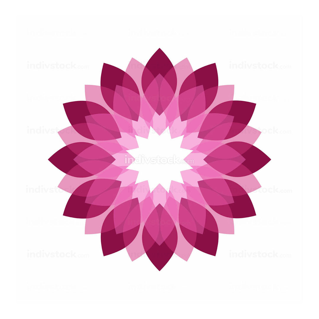 Magenta Flower Shades Symbol Graphic Geomteric Design