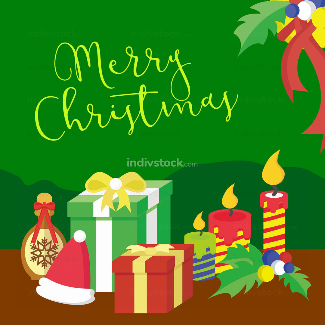 Merry Christmas Gifts Vector Graphic Illustration