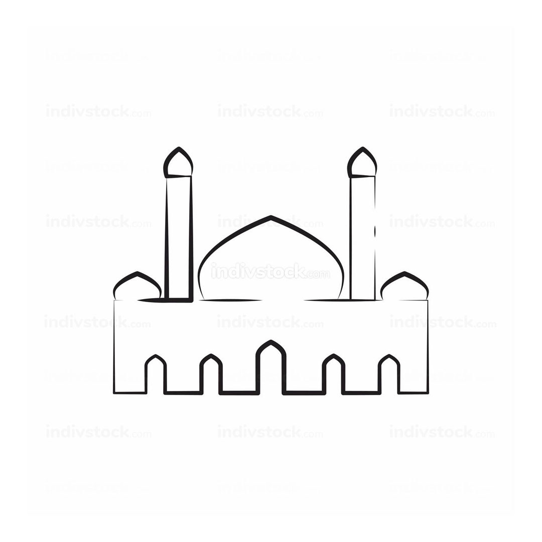 Mosque Twin Tower Sketch Outline Vector Illustration Graphic Design