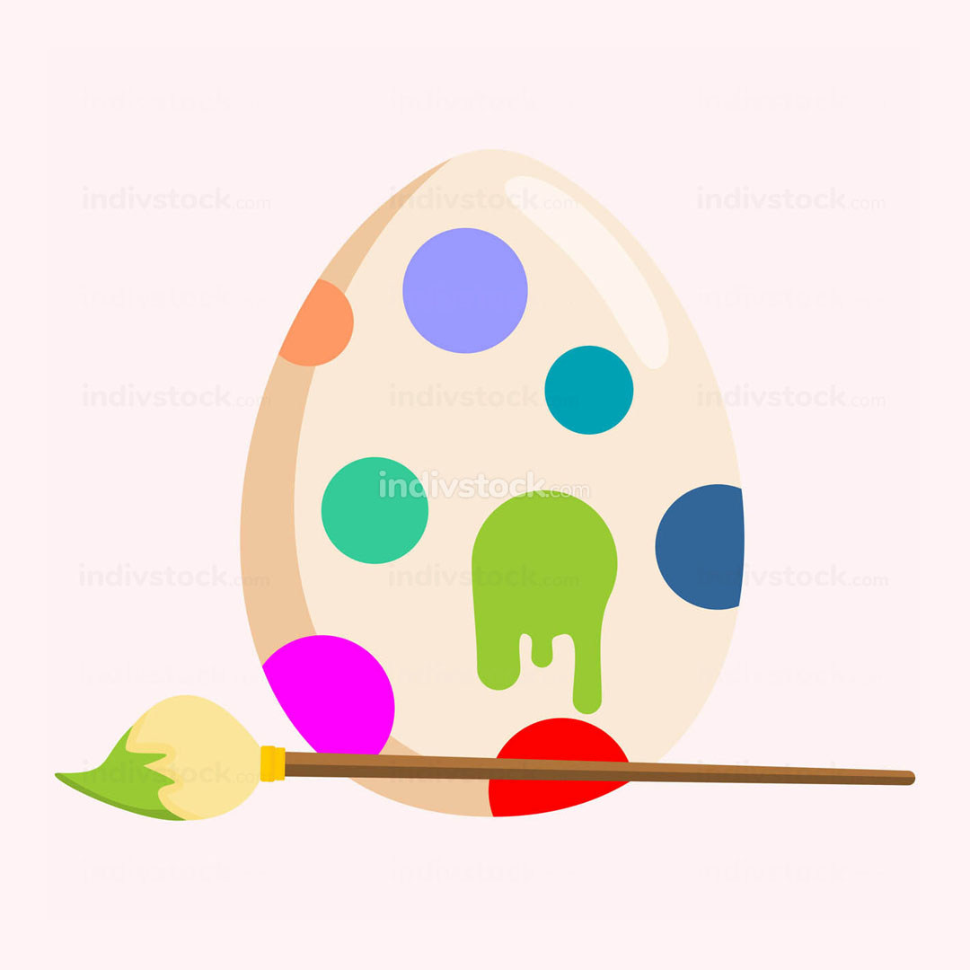 Paint Coloring Easter Egg Illustration Graphic
