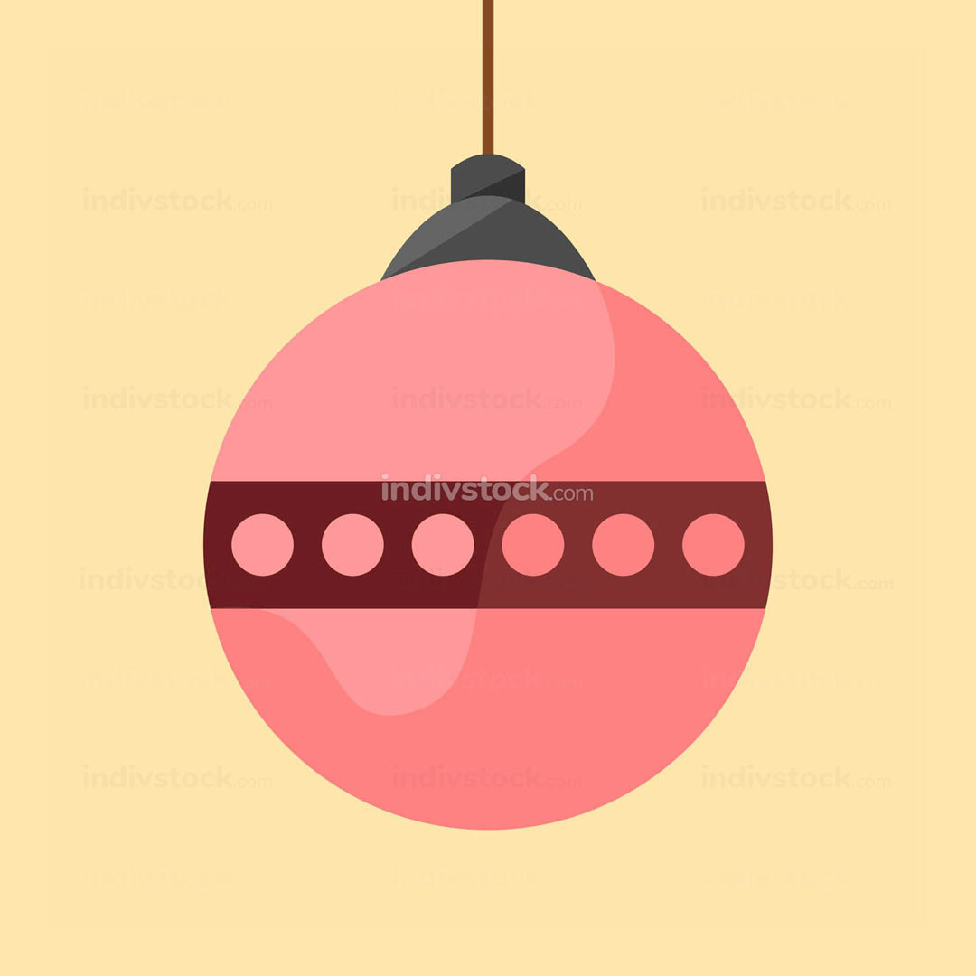 Pink Christmas Ball Decoration Vector Illustration