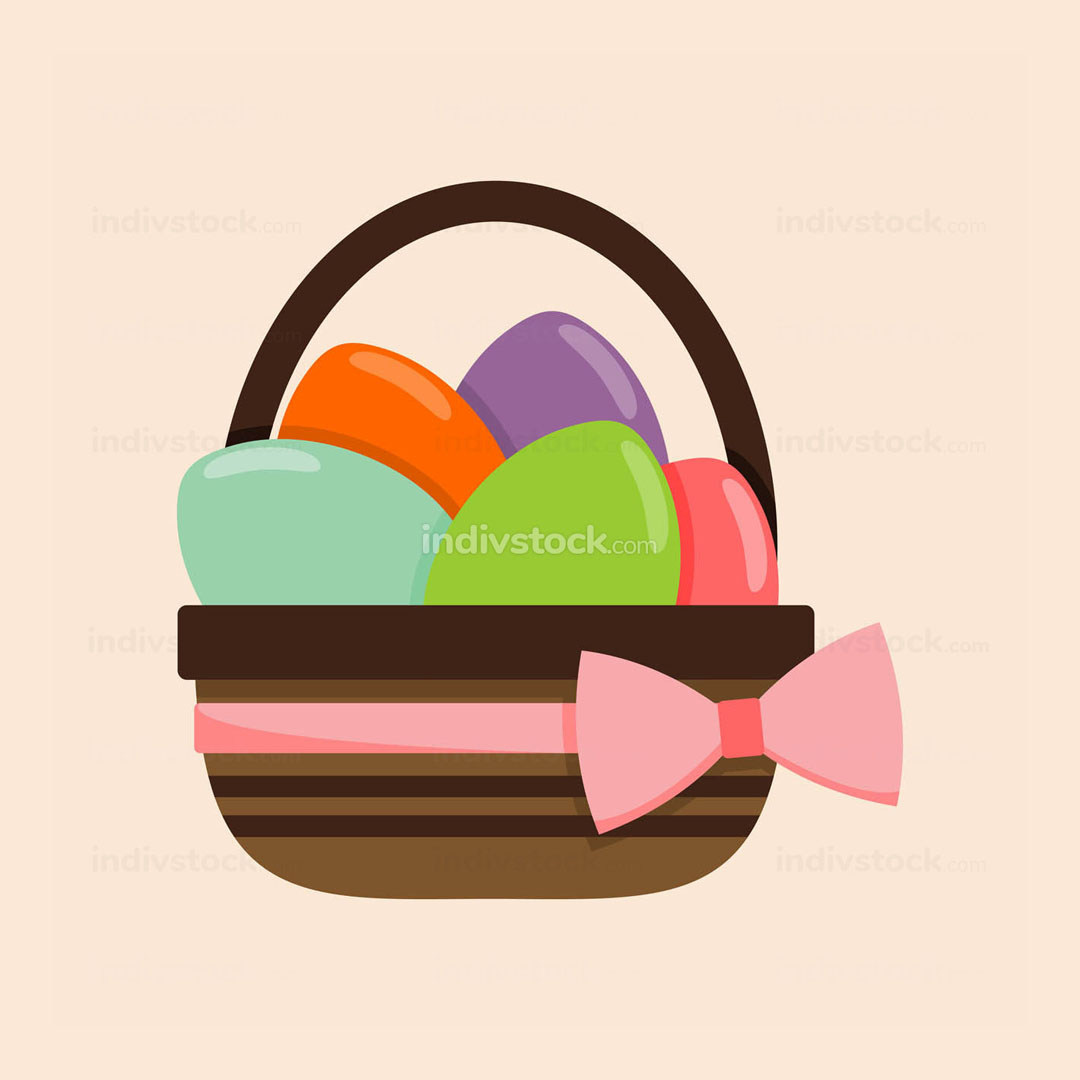 Pink Ribbon Bucket of Colored Eggs Illustration
