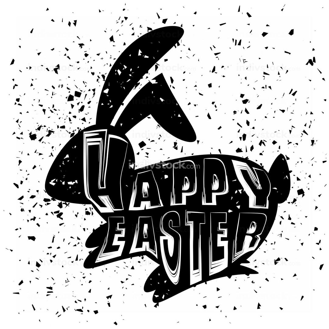 Positive Rabbit Bunny Silhouette. Happy Easter Banner