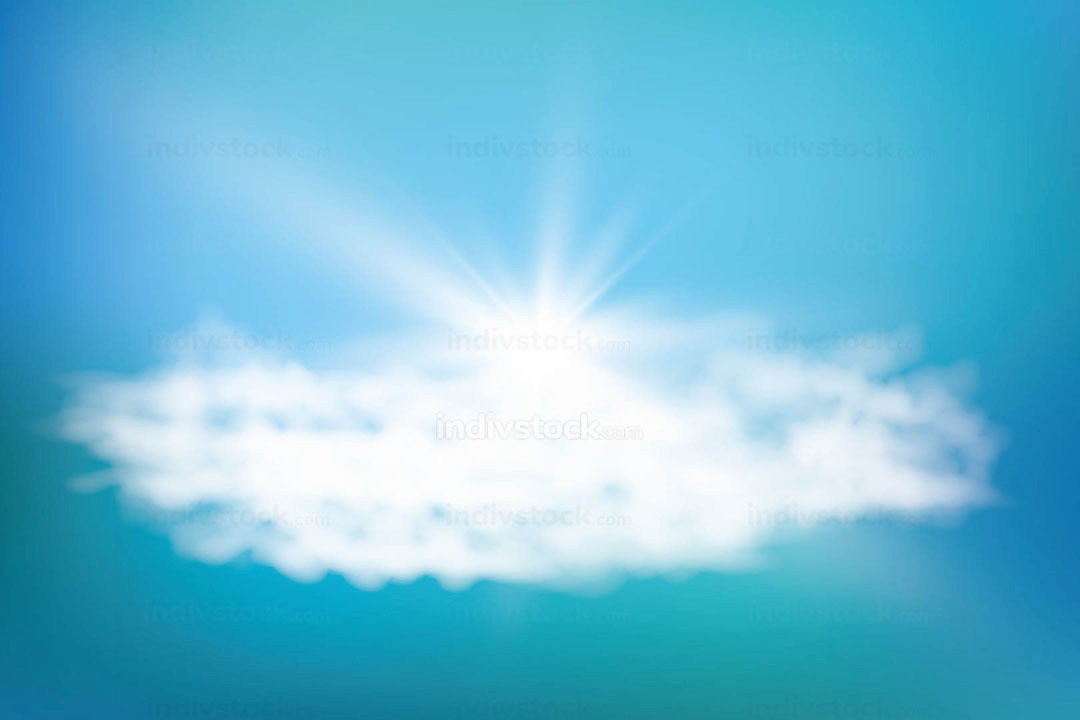 Realistic shining sun with lens flare. Blue sky with clouds background. Vector illustration.