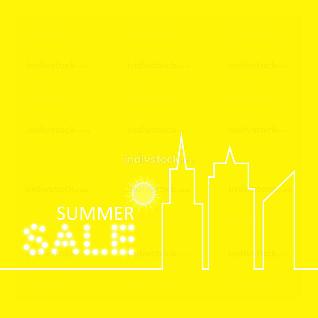 Retro Summer Sale Vector Illustration of Abstract Town in Flat Design Style