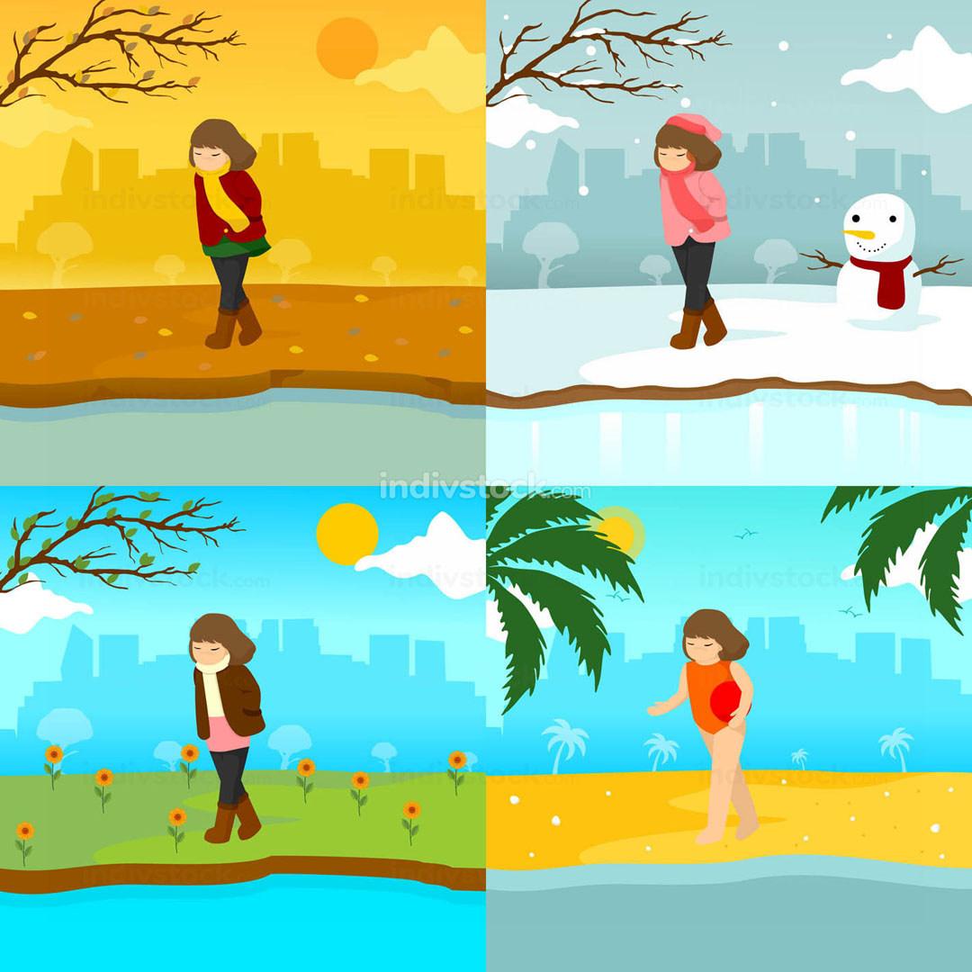 Sad Lonely Girl Multiple Season Scene Illustration Graphic Design