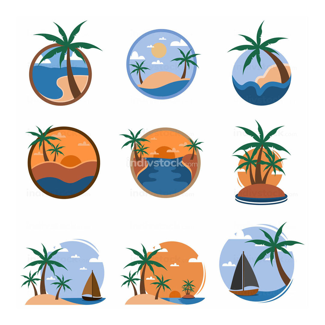 Set of Tropical Travel Island Illustration Graphic Template