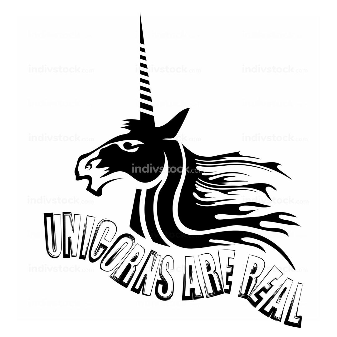 Silhouette of Magic Cute Unicorn and Lettering