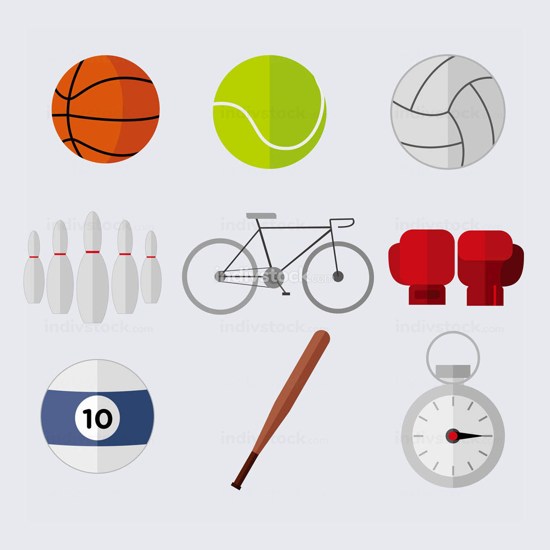 Simple Flat Style Sport Stuffs Vector Illustration Graphic Set