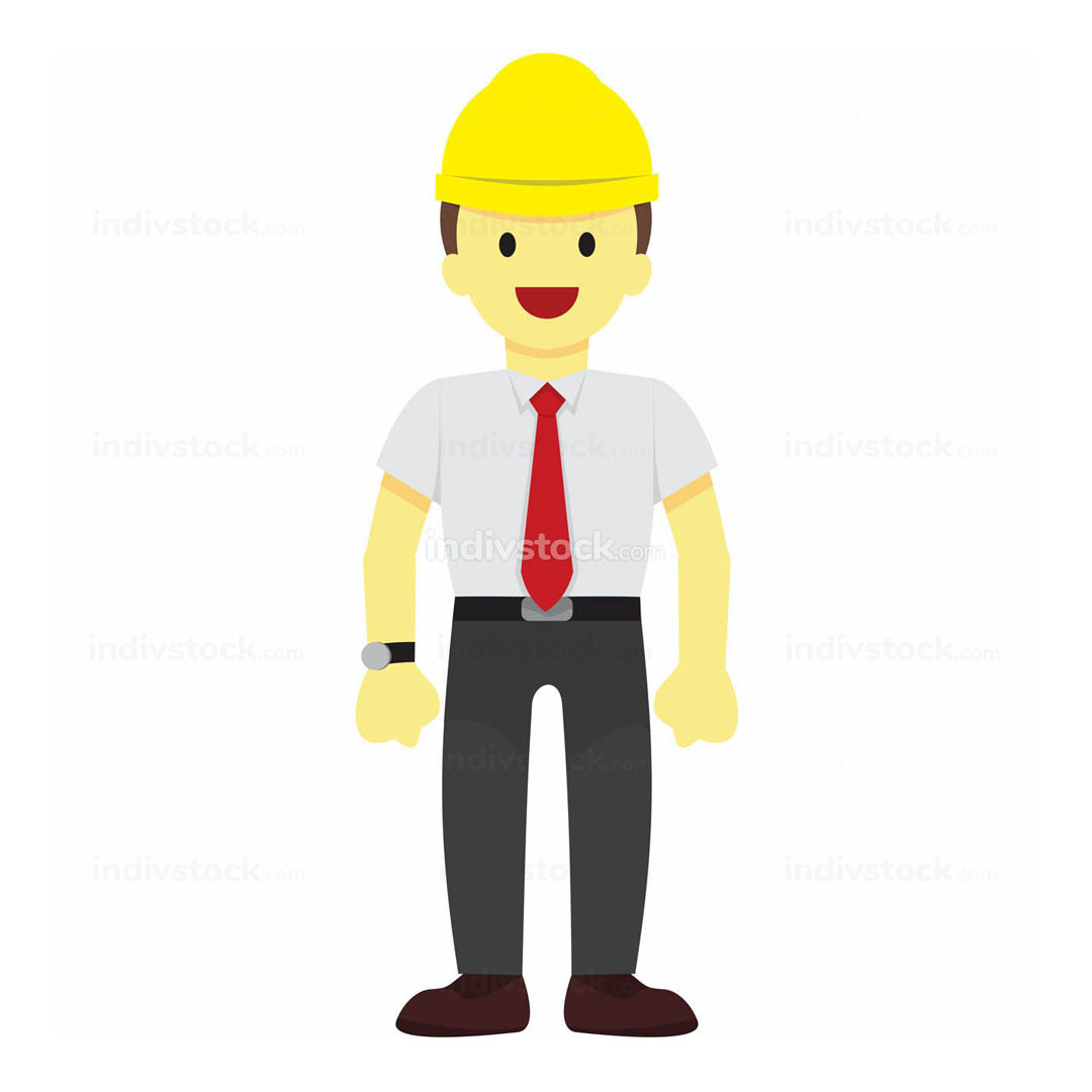 Standing Male Worker Vector Illustration Graphic