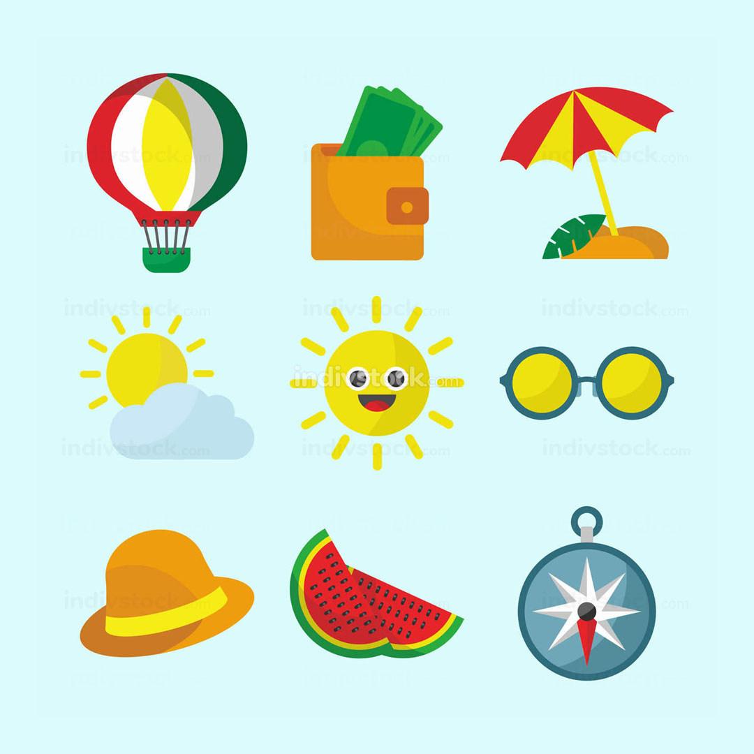 Summer Travel Icon Set