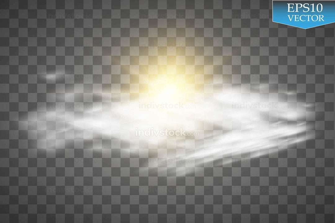 Sun, Clouds and Sky Forecast Background. Cool Weather Transparent Space. Sunshine. Vector illustration