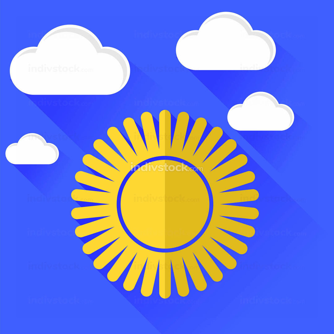 Sun Icon Isolated on Blue Sky Background