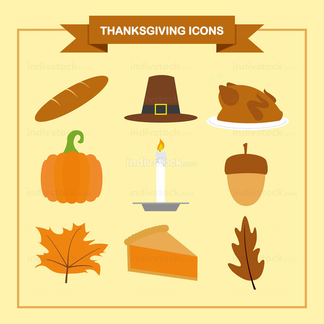 Thanksgiving Icons Vector Graphic Illustration Set