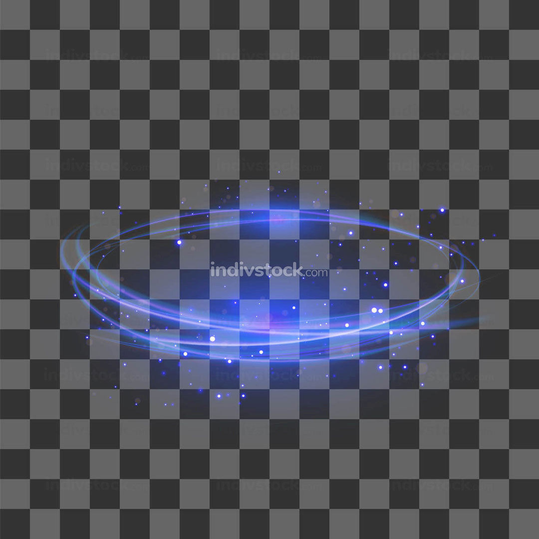 Transparent Light Effect. Blue Lightning Flafe Design. Abstract Ellipse with Circular Lens. Fire Ring Trace
