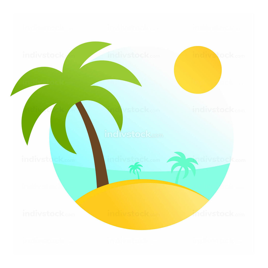 Tropical Travel Scenery Illustration