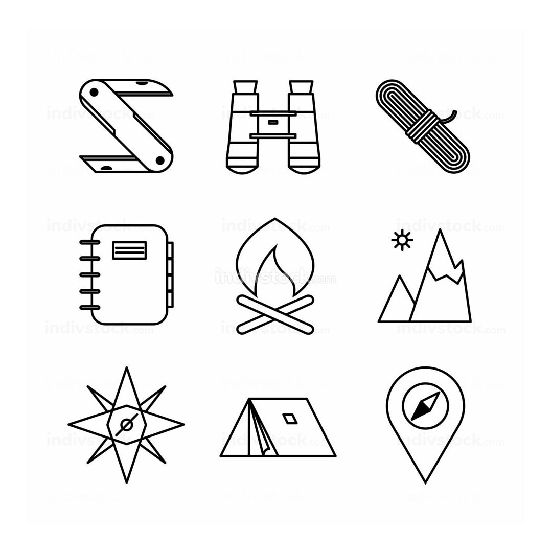 Various Adventure Thin Line Icon Design