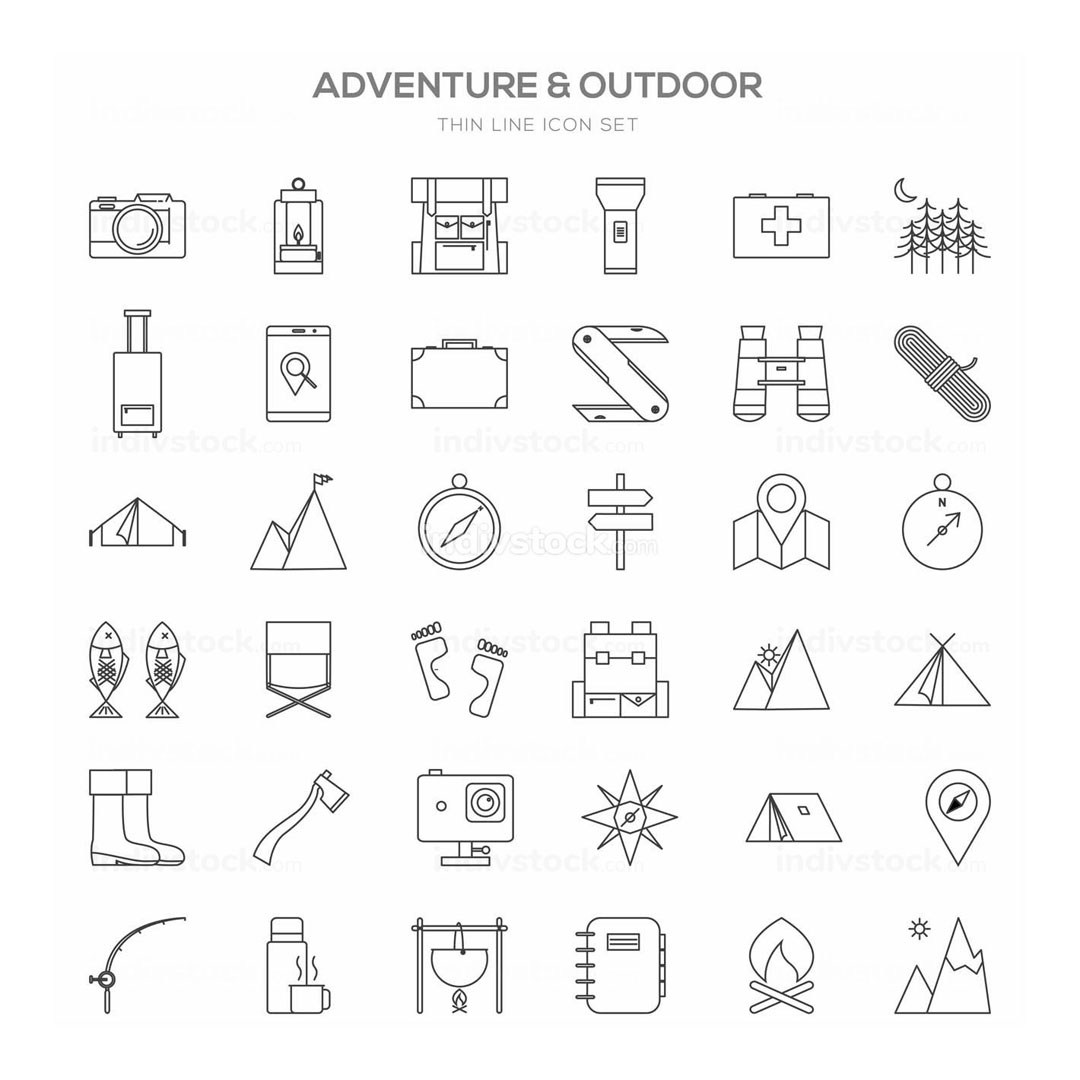 Various Adventure Thin Line Icon Set Design