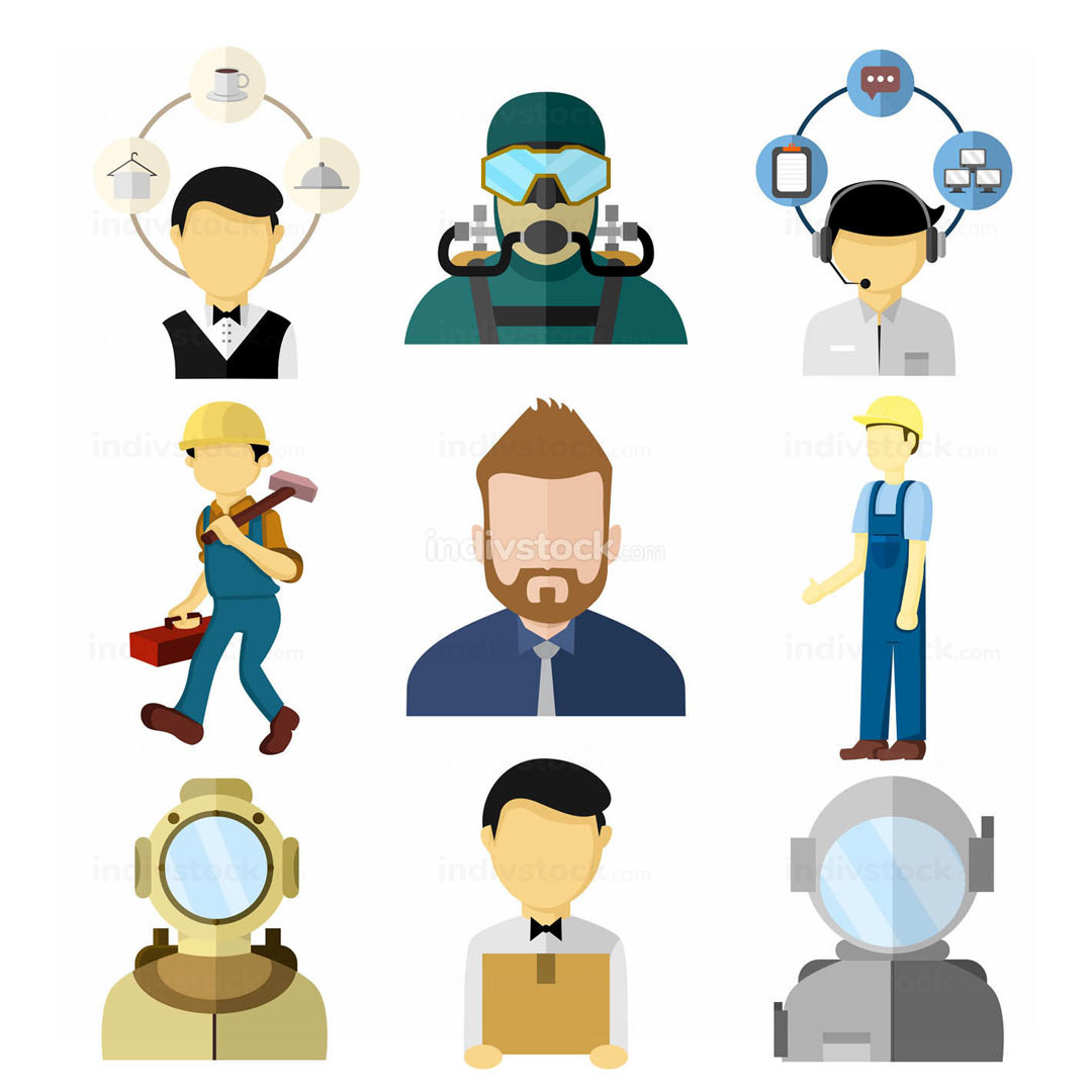 Various Working People Vector Illustration Set