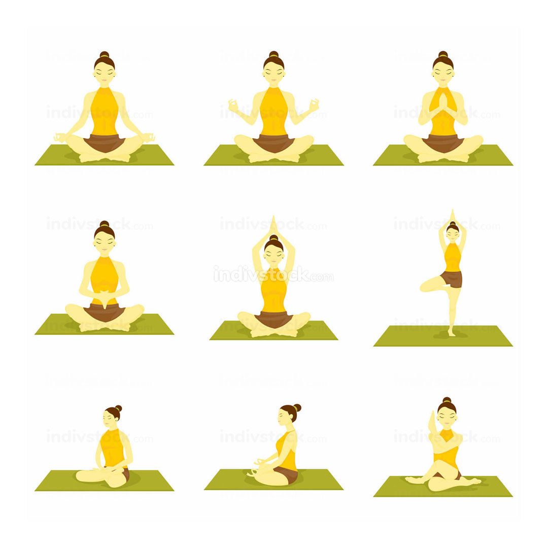 Various Yoga Meditation Pose Seated Illustration Set