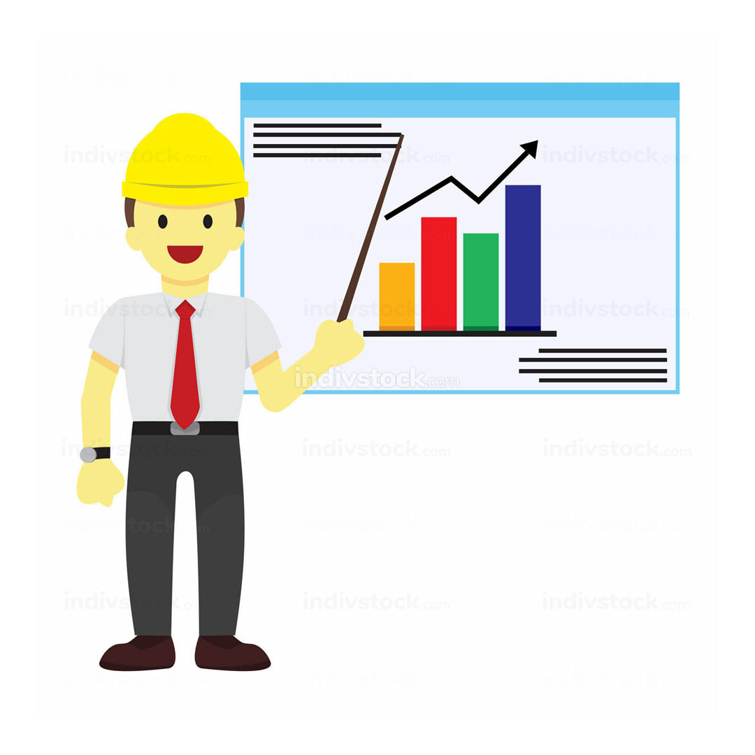 Worker Explaining Statistic Vector Illustration Graphic