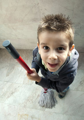 Children who clean the floor