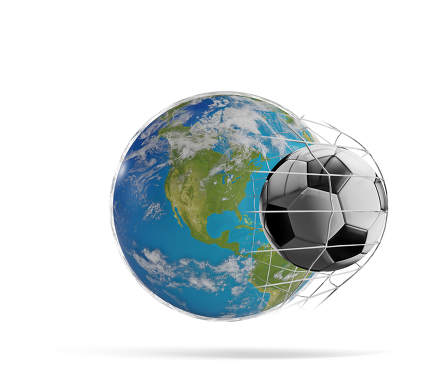 earth globe soccer ball goal 3d-illustration. elements of this i