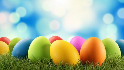 Easter eggs green grass 3d-illustration
