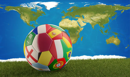soccer ball with flag of Qatar. 3d-illustration. elements of thi