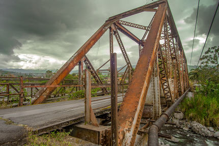 Steel bridge over a river in Costa Rica
