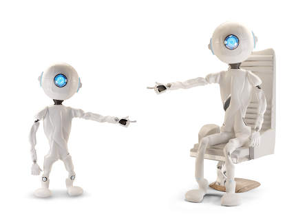 two robots pointing at each other 3d-illustration