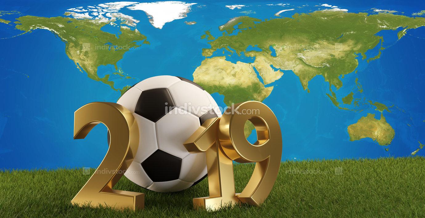 2019 soccer ball green grass background and world map 3d-illustr