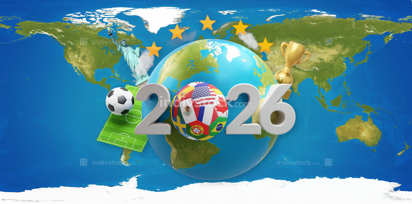 2026 soccer ball with earth globe 3d-illustration. elements of this image furnished by NASA