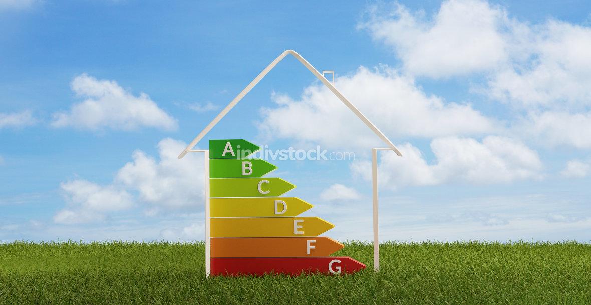 3d-illustration symbol house energy efficiency