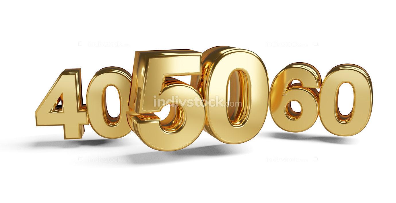 50 and 40 golden 3d-illustration symbol