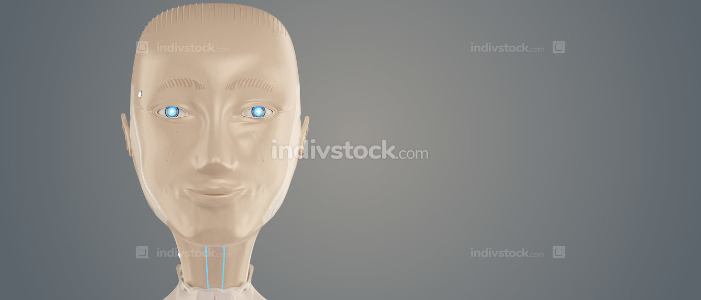 a female robot with a friendly smile.. 3d-illustration artificia