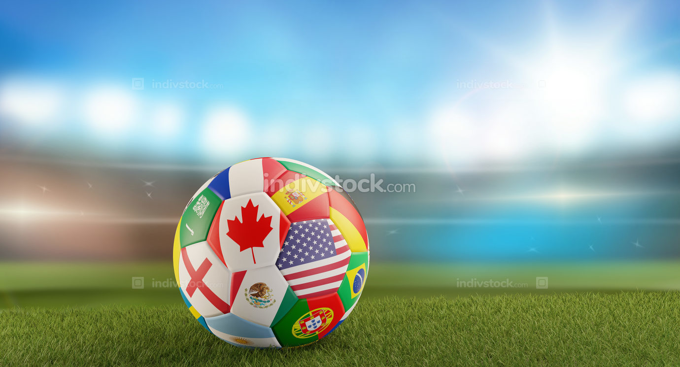 a soccer ball with flags on a soccer field in front of blurred s