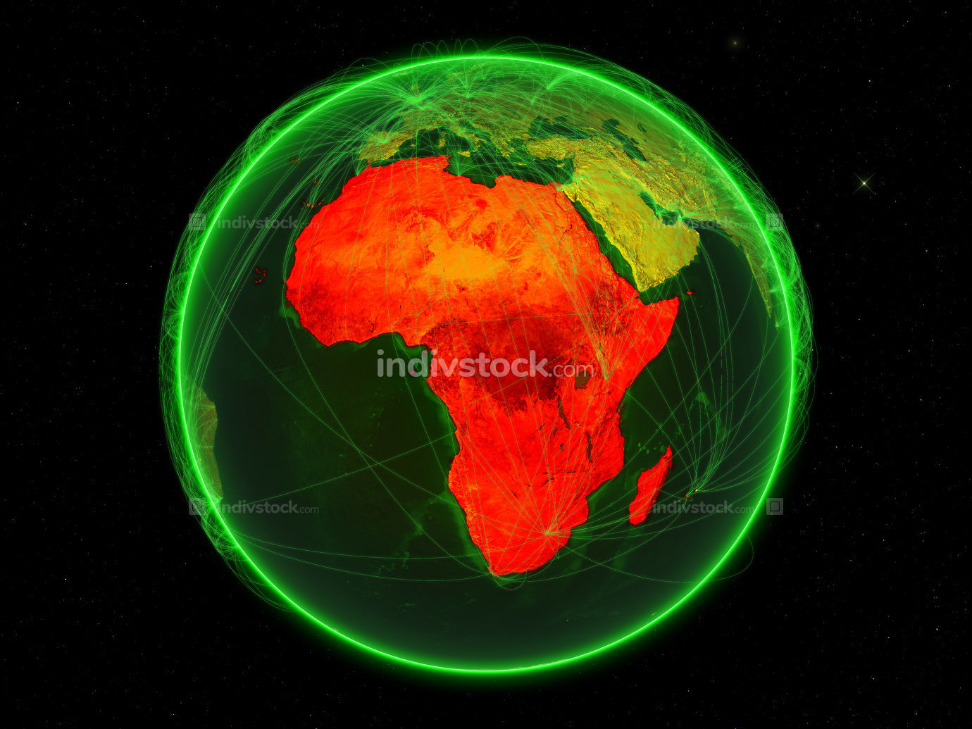 Africa on green networked Earth